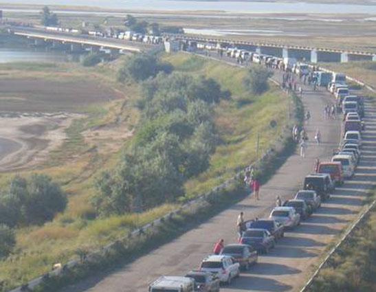 Навъезде изУкраины вКрым образовались самые большие очереди