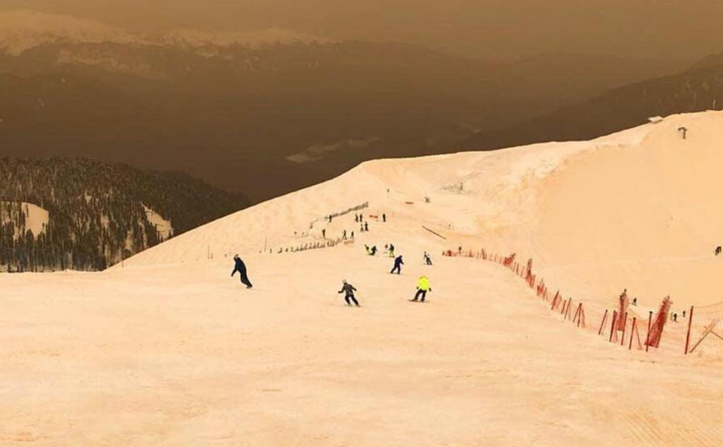 Вгорах Красной Поляны выпал желто-оранжевый снег