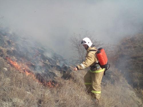 Фото - На Тепе-Оба в окрестностях Орджоникидзе пожарные два часа тушили сухую траву (фото)