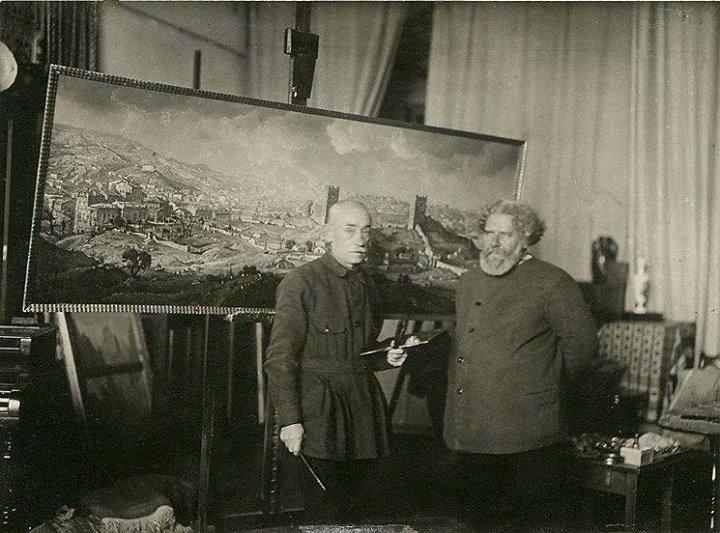 К.Богаевский (слева) и М.Волошин перед картиной