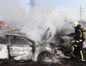 Вчера под Симферополем загорелась автостоянка, полностью сгорело 14 автомобилей
