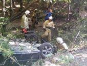 На трассе Судак - Грушевка автомобиль улетел в кювет
