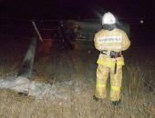 Сегодня ночью в Приморском автомобиль сбил электроопору и повис на проводах