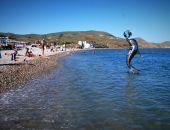 На пляже Коктебеля появилась скульптура дельфина
