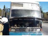 В Крыму под Алуштой загорелся рейсовый автобус