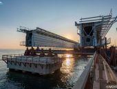 Пролет железнодорожной части Крымского моста упал в воду (видео)