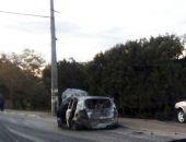 Под Симферополем ДПТ: автомобиль врезался в столб и загорелся