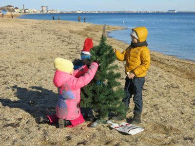Сегодня, 24 декабря, аквалангисты Феодосии установили в море елку (видео)